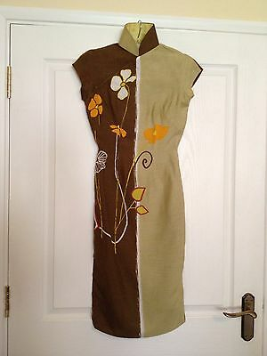 Vintage 1960s Brown, Green with cream and orange flowers Gorgeous Dress size 8