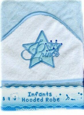 Beautiful Prince Star Design Infant / Baby Hooded Towel - Bath Robe (Blue)