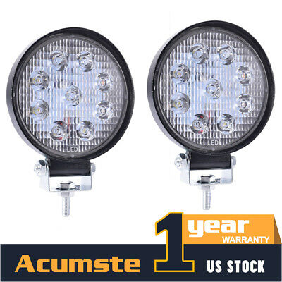 2Pcs 4INCH 27W Round LED WORK LIGHT BAR Spot Flood OFFROAD DRIVING Auto FOG LAMP