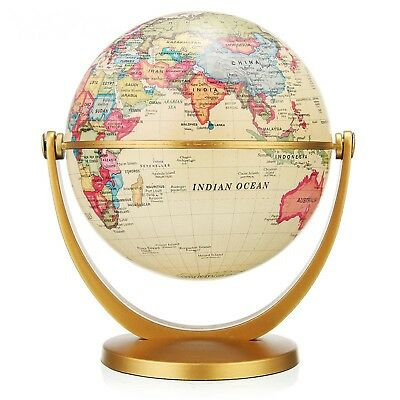 Rotating World Globe Earth Map Stand Antique Desktop Geography Education Decor