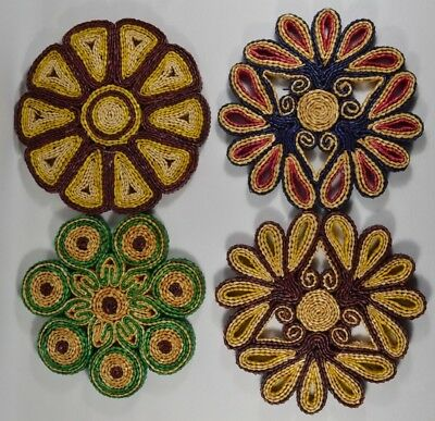 LOT of 4 Vtg Multi-Colored Wicker Straw Hot Pot Holders Woven Trivets Mat Pads