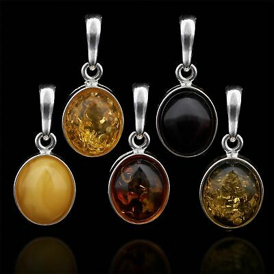 Amberta Genuine 925 Sterling Silver Pendant with Natural Baltic Amber Gemstone