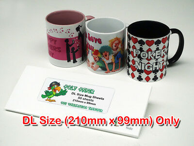 50 Pack - 'DL Size' Mug Sublimation Paper - Poly Paper - High Quality
