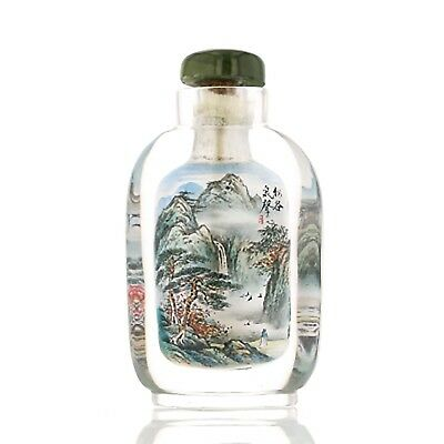 Antique Chinese Glass Snuff Bottle. Interior Painted. Cap. 882182