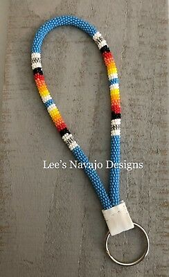 Native American Beaded Turquoise Blue Keychain