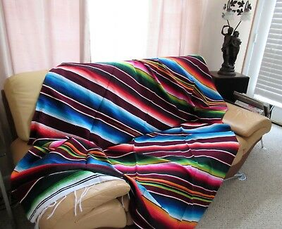"""Mexican Sarape Serape Saltillo Blanket Huge: X-Large 84"""" X 60"""" -  Made In Mexico"""