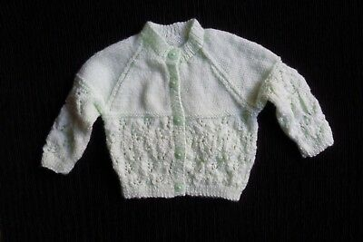 Baby clothes UNISEX BOY GIRL green soft hand-knitted pattern cardigan SEE SHOP!