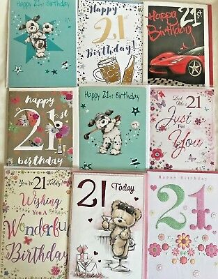 Boy Girl 21st Age 21 Birthday Cards 17 Designs Including Free Sentiment Style