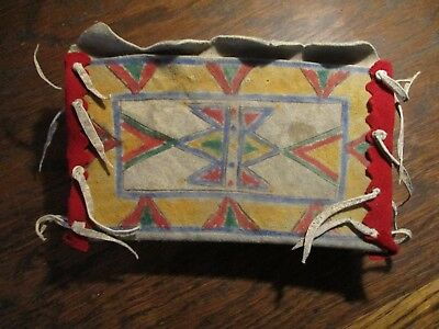 Antique Lakota Sioux Painted Case Red Trade Wool Trim