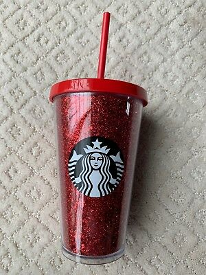 NEW Starbucks 2018 Holiday Red Glitter Stars Cold Drink Cup 16oz