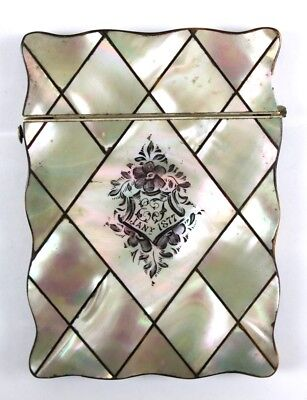 A Victorian Mother of Pearl Card Case dated 1877
