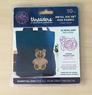 Threaders Teddy Bear die,fabric,mixed media,deep dish,card
