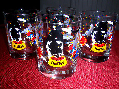RARE 4 pc SET ~ 1983-4 FRISKIES BUFFET cat food PROMO Glasses MARCHING BIRD BAND