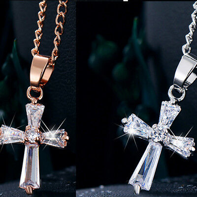 Rose Gold Color Cross Pendant Necklaces For Woman Crystal Pendant Cubic G