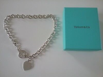 f73a5bca6 TIFFANY & CO Sterling Silver Heart Tag Toggle Charm Choker Necklace ...
