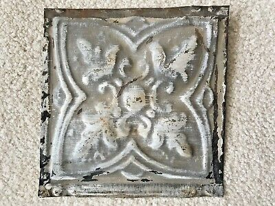 """Vintage Antique Tin Metal Ceiling Tile Reclaimed Salvage 6.25 x 6.25"""" Small Gray"""