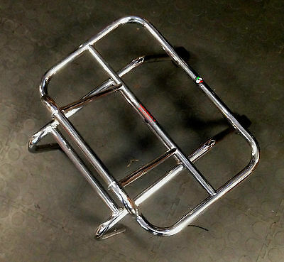 Front carrier rack chrome with fold down rack (short arm) for Vespa PX by Cuppin