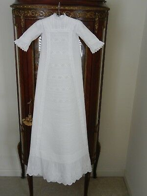 Antique Christening Gown White CottonTucks And Whitework Stunning