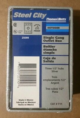 """Thomas & Betts T11 Single Gang Outlet Box Outdoor Three 1/2"""" Hubs Silver,..."""