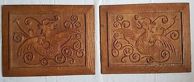 Antique Architectural French Carved Oak Wood Winged Serpent Griffin Panels Pair