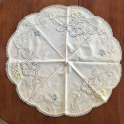 """Antique~VICTORIAN~Society SILK Work Hand Embroidered On Linen TABLE SCARF- 31+"""""""