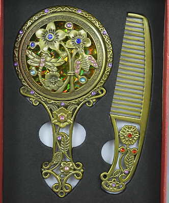 China Collectible Old Copper Carve Flower Dragonfly Rare Hand Mirror Comb & Box