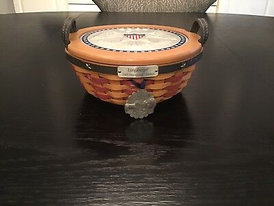 Longaberger 2005 Inaugural Basket Set With Eagle Lid , Protector & Tie On
