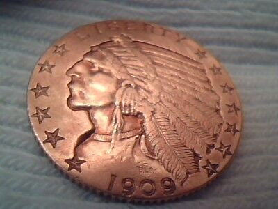 ~ 1909 Philadelphia U.s. Five Dollar Indian Half Eagle Gold ~ .2418 Agw ~