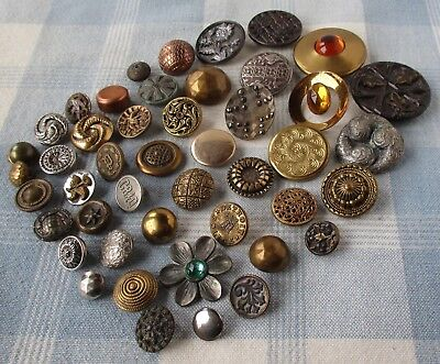 Assortment of 46 Vintage and Victorian Metal Buttons