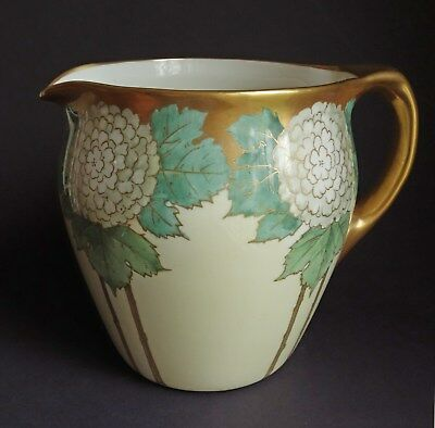 AMERICAN BELLEEK/ Lenox ARTS & CRAFTS Era HP Hand Painted Pitcher HYDRANDGEAS