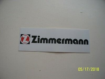 "ORIGINAL  RACING  DECALS    ""  Zimmermann    ""   4 "" X 1 3/8 """