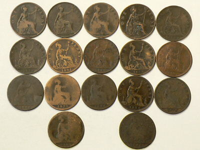 1861 to 1901 Great Britain Penny Lot of 17 Different Coins #1956