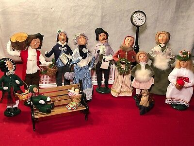 Lot of 10 Byers Choice Christmas Carolers with Bench, Street Clock, and Dog