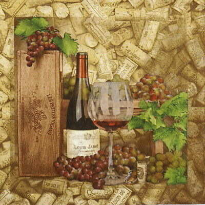 4x Paper Napkins for Party, Decoupage Craft Wine and Corks