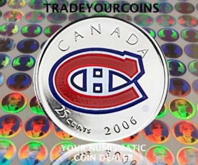 2006 p Canada Nickel Coloured Quarter - 25 Cents NHL Hockey Series-Montreal Cana