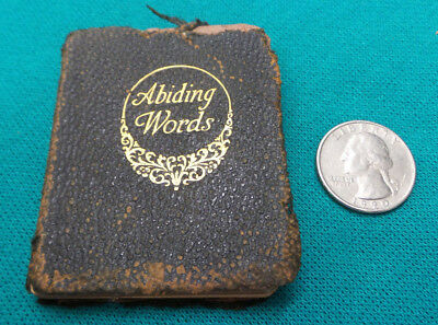 Antique Miniature Christian Book Abiding Words Small Book Vintage Tiny Low Grade