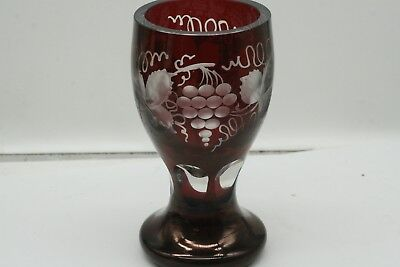 Estate Cranberry Cut to Clear  CHALICE  Czech Bohemian