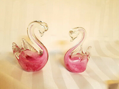 Pair of Pink Swan Figurines Murano Art Glass Heavy Solid set of two, a couple