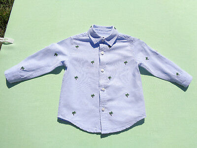 janie and jack baby boys linen blend shirt size 12-18 months embroidery palms