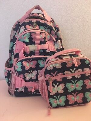 Pottery Barn Kids Mackenzie Large Pink Navy Butterfly Backpack Classic Lunch Bag