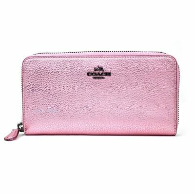 Coach 23554 Accordion Zip Wallet Metallic Blush Leather With Gift Box