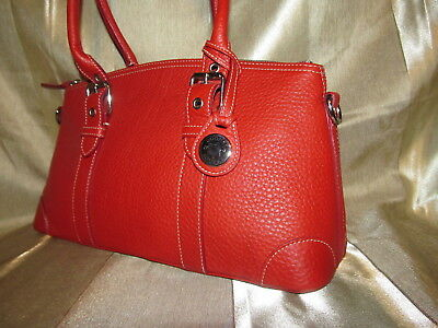 Dooney & Bourke Pebble Leather Large Domed Satchel R243C Red Mint
