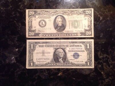 1934 A  $20 Federal Reserve Note - San Francisco + 1957B $1 Silver Certificate