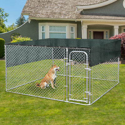 7.5ft Pet Dog Run House Kennel Shade Cage w/ 10'x10' Roof Cover Backyard Playpen