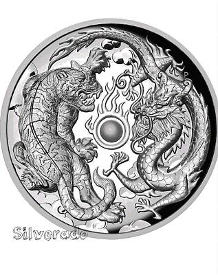 2018 Dragon and Tiger 1 oz Silver coin 9999 Ag Perth Mint Genuine coin