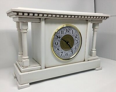 Amish Ashery Mantle Clock - Cherry Wood with White Paint and Glaze - New!