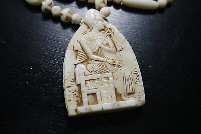 Vintage Czech  Max Neiger Egyptian Revival Glass Bead Art Deco Scarab Necklace