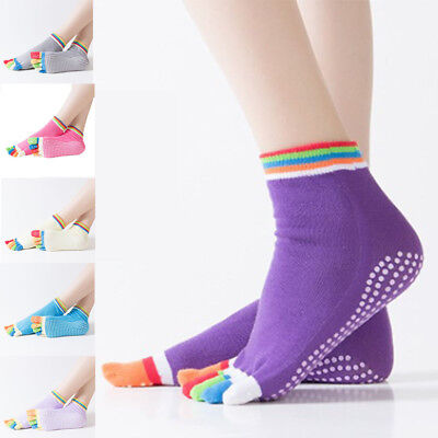 14 Colors Yoga Socks Non Slip Pilates Massage 5 Toe Socks with Grip Exercise Gym