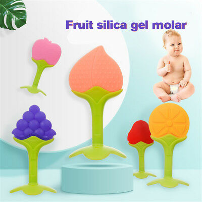 Baby Infant Teether Teething Stick Food Grade Silicone Fruit Shape Feeder Toys