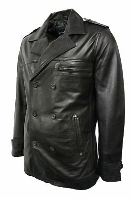 Man Casual Black Military Army P Officer Real Nappa Leather Jacket Coat